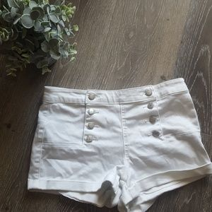 White high waisted shorts with buttons